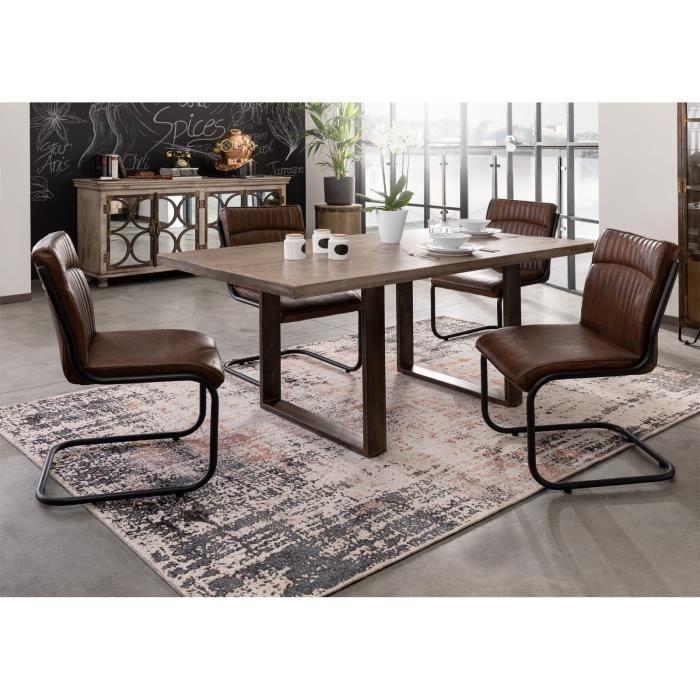 Table à manger 170x90cm - Bois massif de manguier laqué (Marron) - Design industriel - HEAVY INDUSTRY #200