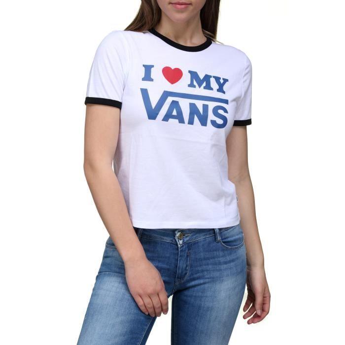 Tee shirt femme Vans Vn0a3uldy White / Black