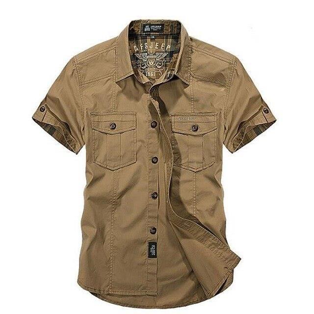 Zencart Hommes été Hommes Solide Militaire Manches Courtes Chemises Coton Respirant Chemise Homme Lâche Armée Chemise