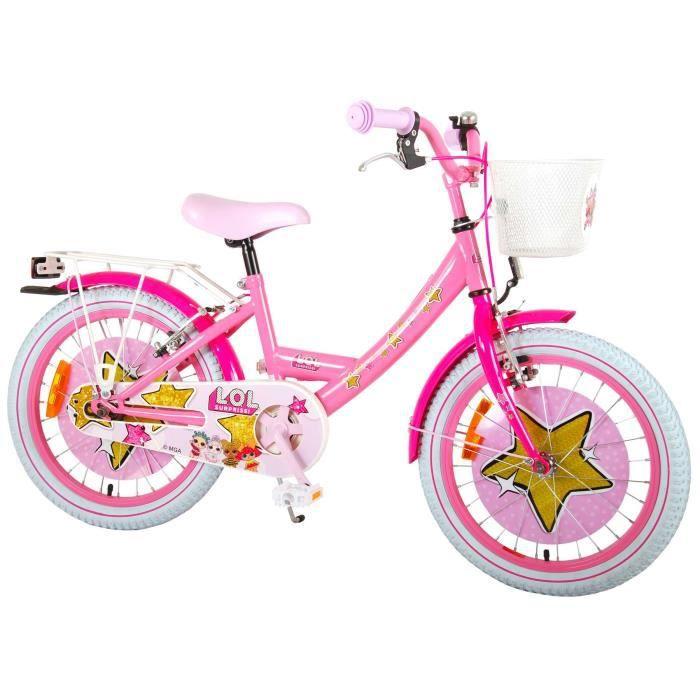 Vélo Enfant Fille 18 Pouces LOL Freins Avant et Arriére sur Le Guidon Panier Rose