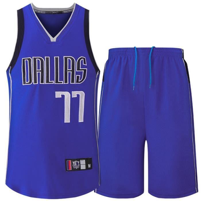 NBA Basket Maillots  Hommes Dallas Mavericks Luka Dončić 77# Ensemble De Maillots De Jersey De Brodé Respirant séchage Rapide