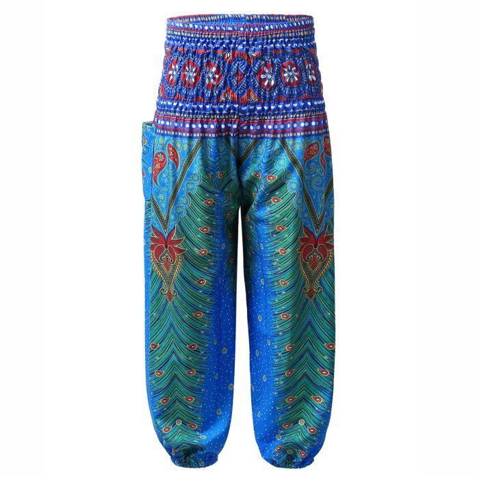 Enfant Fille Pantalon Sarouel Imprimé Bohème Été Pantalon de Yoga Plage Baggy Harem Pants 3-10 Ans Bleu