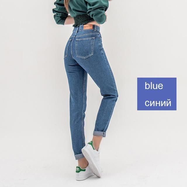 LUNA-Slim Jeans droit pour femmes Fashion-Bleu