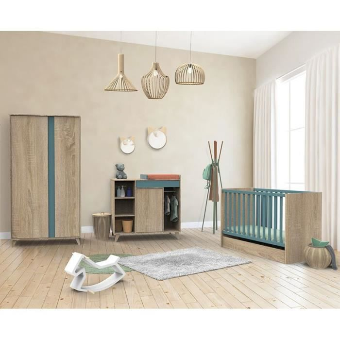 Chambre complete bebe Sauthon avec lit Nova Argile douce 140 x 70 cm évolutif en 90 x 200 et 140 x 200 cm