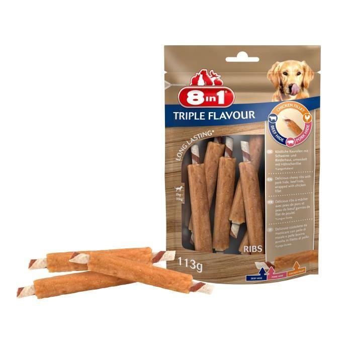 8in1 Triple Flavour Ribs à mâcher Premium aux Bœuf, Porc, Poulet - Pour chien de petite taille - 6 pièces