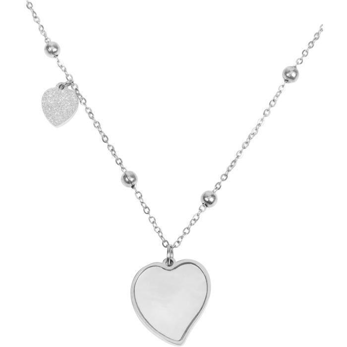styleBREAKER Chaîne en inox pour femmes avec pendentifs en forme de cœur et perles, collier, maille forçat, bijou 05030055 [Argenté]