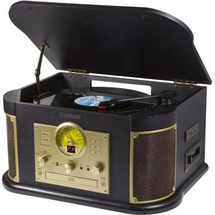 Platine disque vinyle avec encodeur MP3, CD, cassettes avec port USB, lecteur carte SD, radio FM, bluetooth TX-103