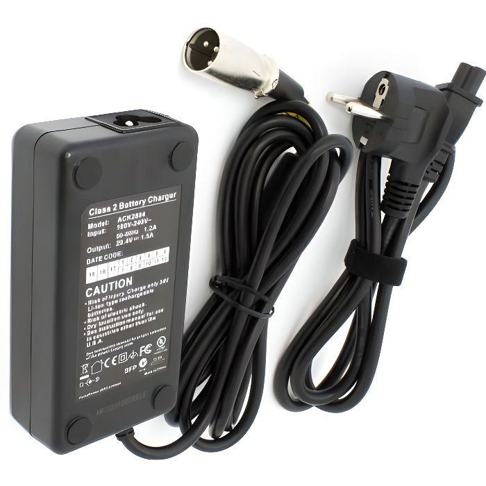 vhbw 220V (1500mA) alimentation 220V (1500mA) câble chargeur chargeur 52W pour e-bike, pedelec, vélo électrique batteries 24V avec