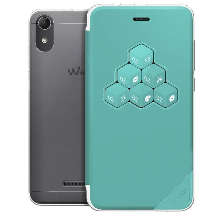 Etui Wiko Lenny 4 Housse Clapet Fenêtre Interactive Wicube Original Turquoise