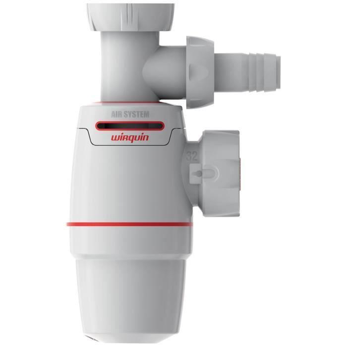 WIRQUIN - Siphon de lavabo Néo Air Ø32 mm + prise Machine à laver