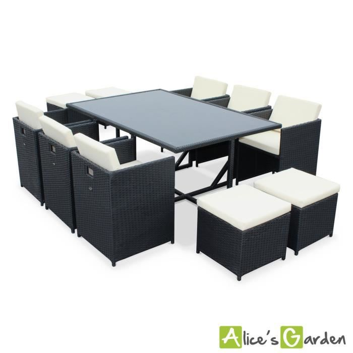 salon de jardin vasto noir table en r sine tress e 6 10. Black Bedroom Furniture Sets. Home Design Ideas