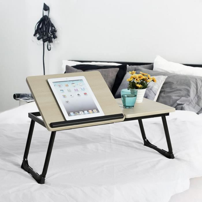 Support table de lit pour ordinateur portable inclinable - Support pour ordinateur portable lit ...