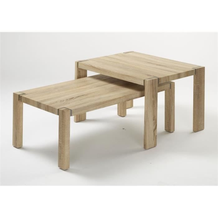 Table basse chene sonoma clair achat vente table basse for Table basse chene clair pas cher