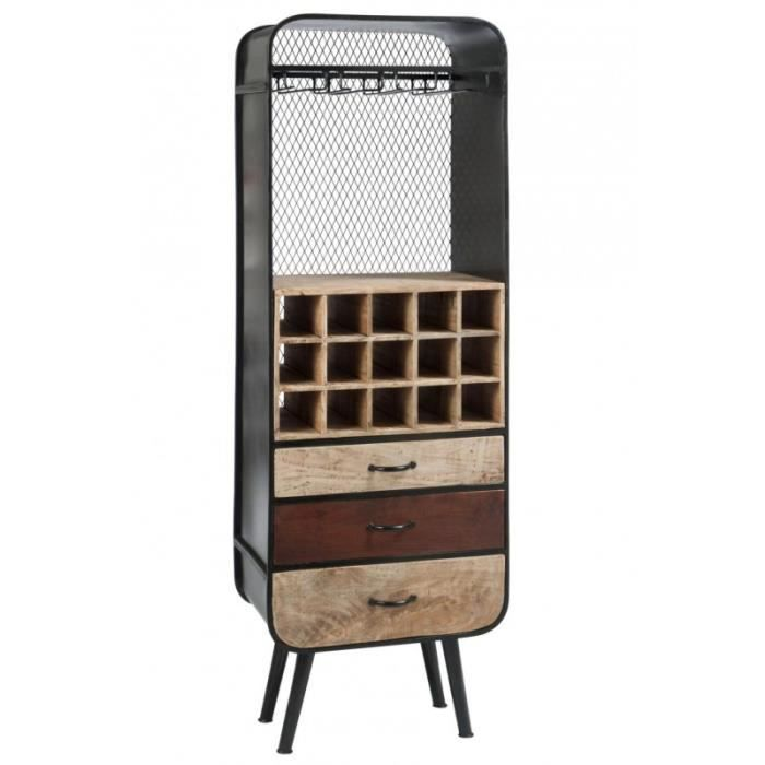 meuble de bar industriel 15 bouteilles 3 tiroirs en bois m tal achat vente meuble bar meuble. Black Bedroom Furniture Sets. Home Design Ideas