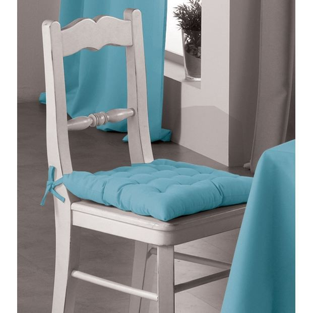 galette de chaise bleu turquoise. Black Bedroom Furniture Sets. Home Design Ideas