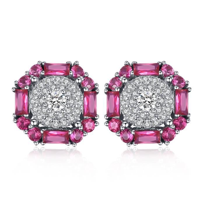 JewelryPalace 1.2ct Rubis Synthese Boucles doreilles en Argent 925