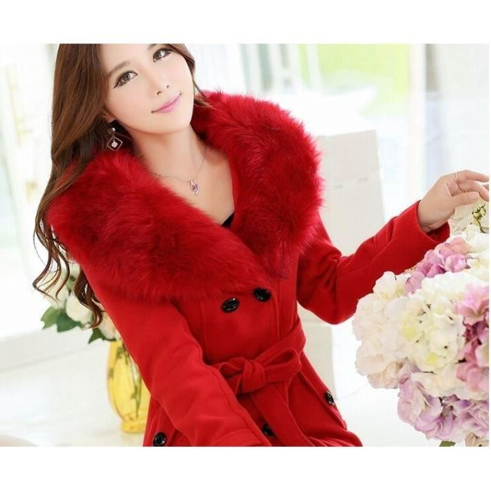 mode femme veste manteau col fourrure fausse r rouge achat vente blouson cdiscount. Black Bedroom Furniture Sets. Home Design Ideas