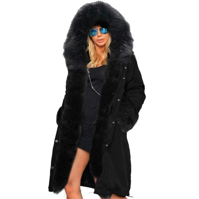 manteau en fausse fourrure parka long pardessus noir achat vente parka cdiscount. Black Bedroom Furniture Sets. Home Design Ideas
