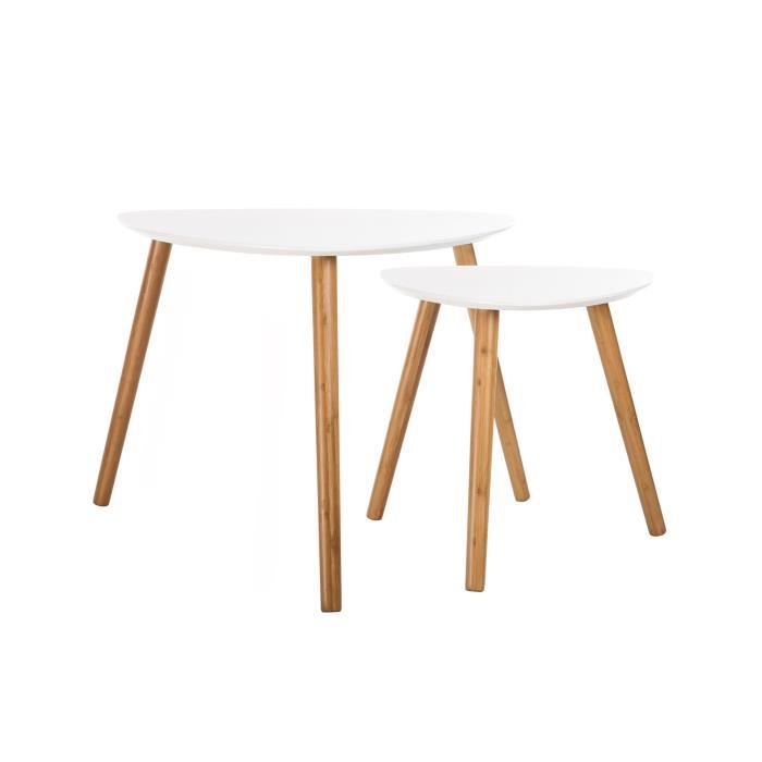 Table basse scandinave blanche lot de 2 achat vente for Meuble scandinave table basse