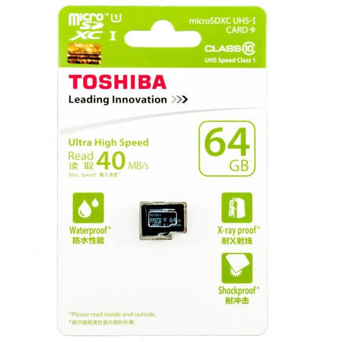 toshiba 64 go micro sd xc classe 10 40 mo s carte m moire achat vente carte m moire cdiscount. Black Bedroom Furniture Sets. Home Design Ideas