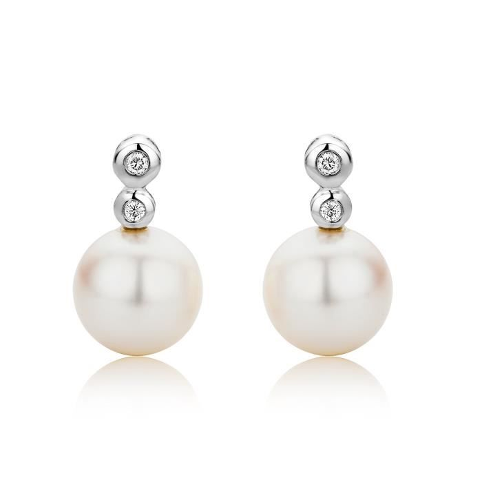 Miore 9 Ct White Gold White Cultured Pearl And Diamond Stud Earrings 1B9I59