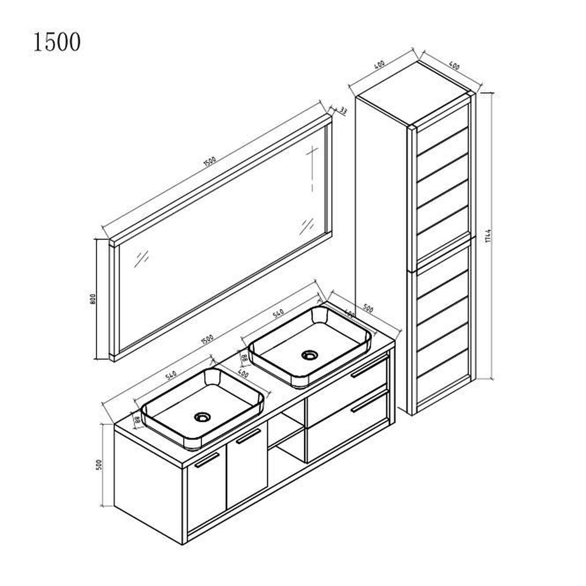Salle De Bain Com meuble de salle de bain vermont 150cm lavabo nature wood – colonne meuble  lavabo miroir
