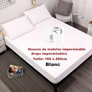 MATELAS Blanc - 160 x 200cm  Feuilles imperméables Housse