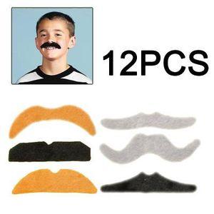 SODIAL R Lot de 12 Fausse Moustache Fake Adhesif Deguisement Costume Fete