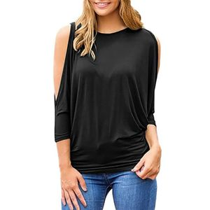 T-SHIRT Tee-shirt femme col rond manches 3-4 Blouse ample