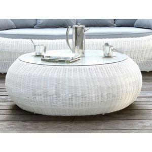 Table basse de jardin WHITEHEAVEN en résine tressée blanche ...