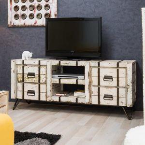 MEUBLE TV Meuble TV bois en mindi LOFT blanc 160x45