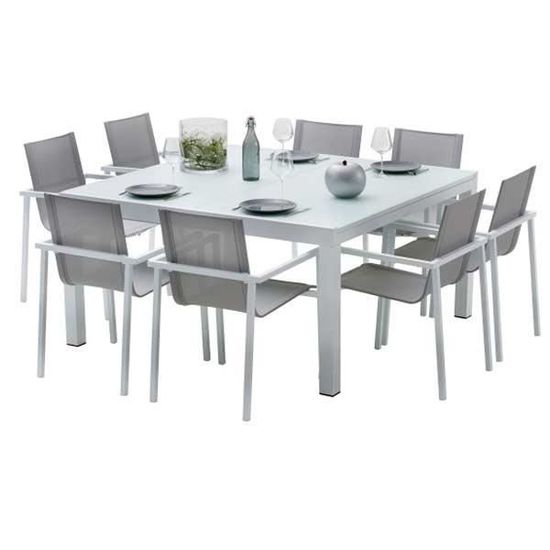 Ensemble table et chaises de jardin extensibles CARRE WHITESTAR 8 ...