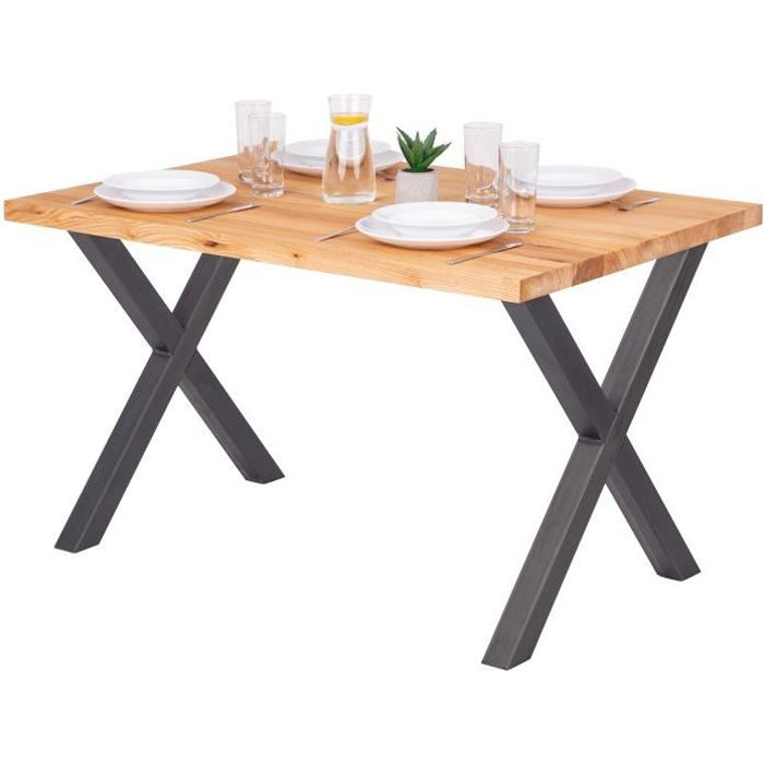 LAMO MANUFAKTUR Table à manger industrielle en bois massif - 120x80x76cm - frêne naturel - pieds acier brut - modèle design
