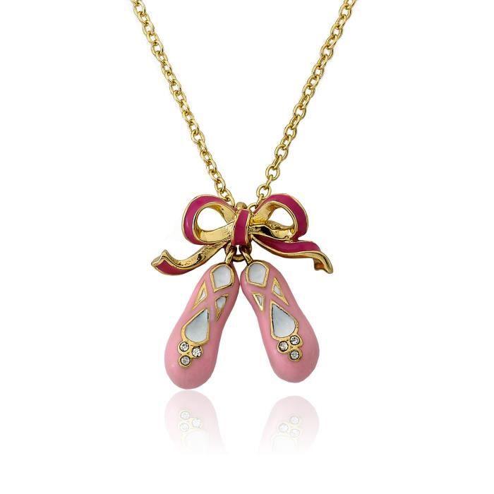 Little Miss Twin Stars 14k filles Collier plaqué or émail Bow et chaussures de ballerine Collier Ballet ULB46