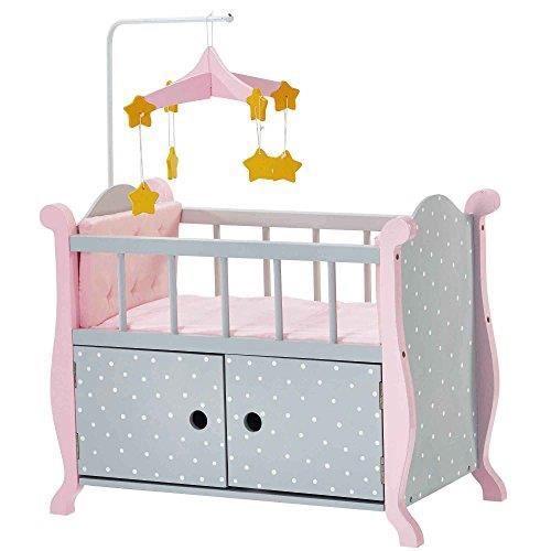 Olivia's Little World-TD-0206AG Meubles de Poupée Polka Dots Lit de Bébé avec Cabinet, TD-0206AG TD-0206AG