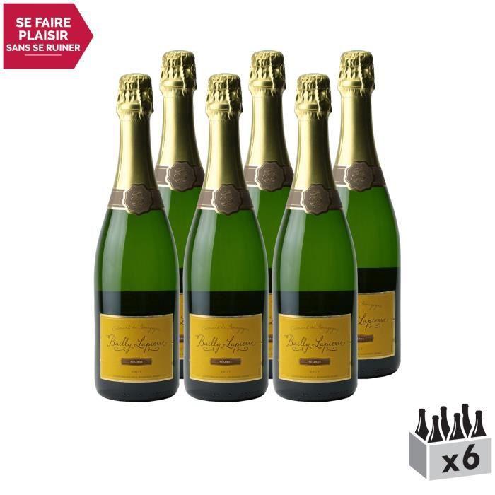 Crémant de Bourgogne Brut Réserve Blanc . Lot de 6x75cl . Les Caves Bailly Lapierre . Vin effervescent AOC Blanc de Bourgogne .
