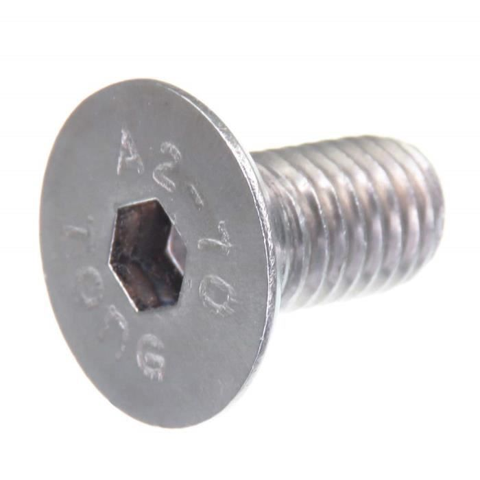 Vis à tête fraisée SECCARO M10 x 20 mm, acier inoxydable V2A VA A2, DIN 7991 - ISO 10642, à six pans creux, 20 pièces