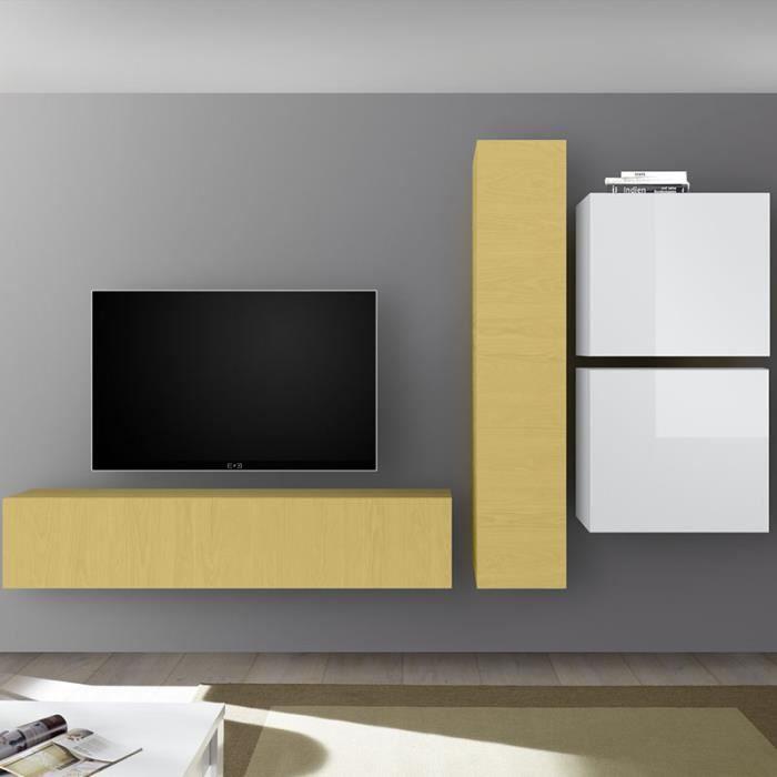 Ensemble meuble TV blanc laqué et jaune PUNTA Jaune L 260 x P 30 x H 180