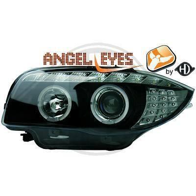 1280980 , Paire de Feux Phares angel eyes noir pour BMW Serie 1 , Coupe , Cabriolet , Berline E81 - 82 - 87 - 88 de 2004 a 2011