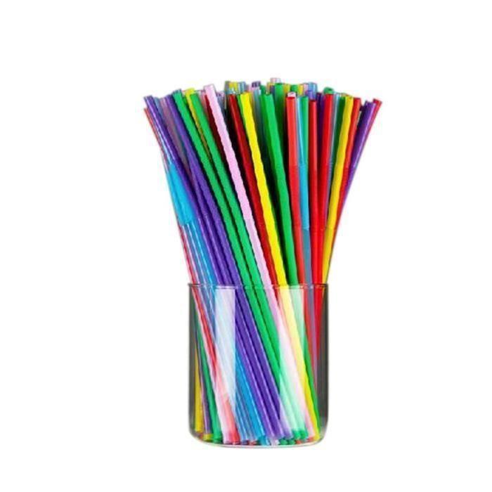 HT Pailles Multicolore Jetable Pailles Pailles Flexibles pour Fête Famille 100 Pcs - HTSWM824AA0818