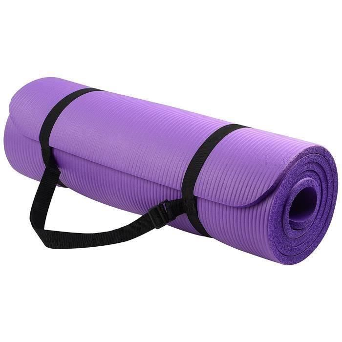 Balance All-Purpose 1-2-Inch Extra Thick High Density Anti-Tear Exercise Tapis de yoga avec sangle de transport (violet)