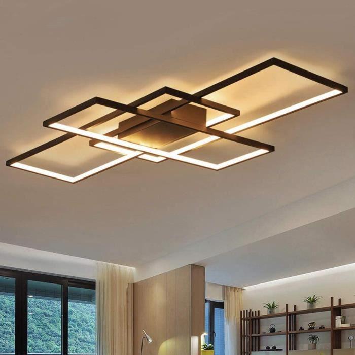 Dellemade Plafonnier LED rectangulaire à 3 ampoules - Design moderne - Noir947