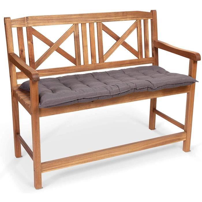 Homeoutfit24 Sun Garden - Coussin de Banc, Confort d'assise, Haute qualit&eacute, pour Meubles de Jardin, 110 x 50 x 7 cm - Gris37