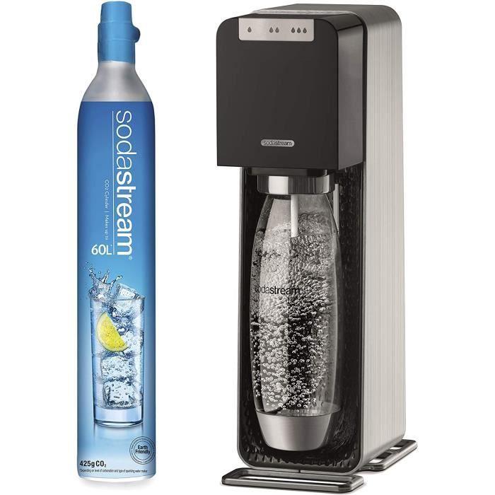 SodaStream Source Power, Machine à eau pétillante, Aluminium, Noir