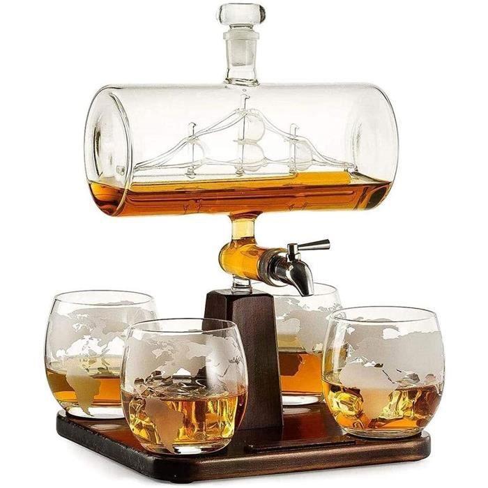 Carafes à décanter Whisky Carafe Cristal Verres De Whisky Decanter Ensemble De 4 Pierres De Whisky Et Cadeau De Verre Set D&eacu169