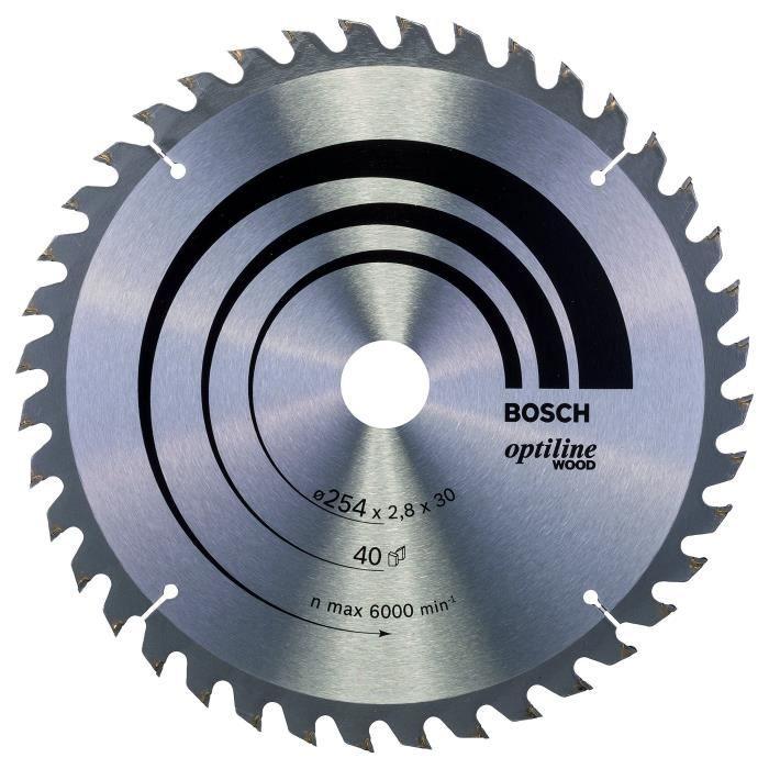 Bosch Professional Bosch 2608640443 Lame de scie circulaire Optiline Wood 254 x 30 x 2,8 mm, 40, 1 pièce, Gris