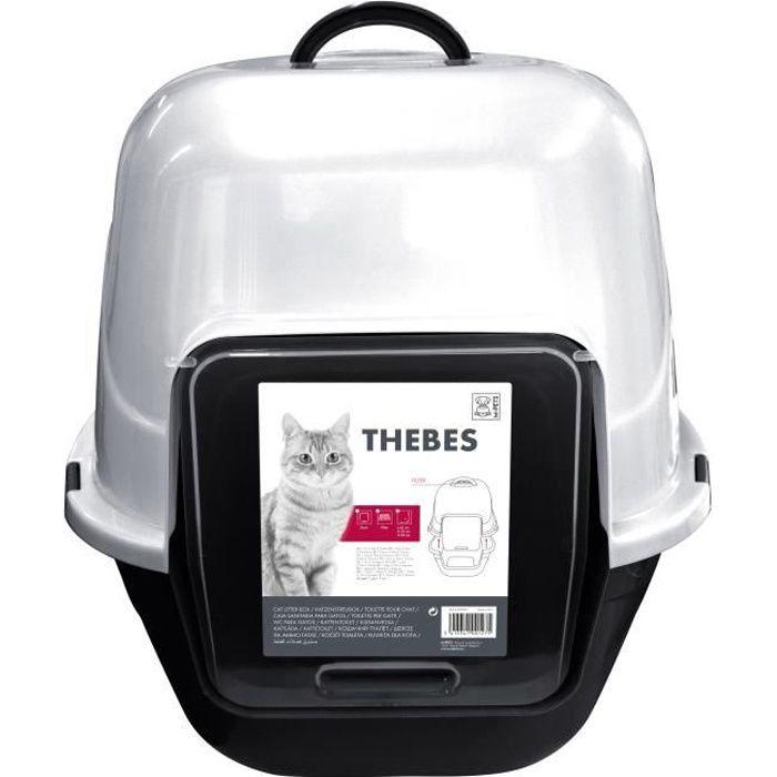 MPETS Maison de toilette Thebes - 62x53x58 cm - Noir et blanc - Pour chat