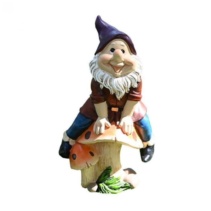 Garden Gnome Fée Mini Gnome Statue miniature de jardin en résine Gnomes Figures Fée nain ornement extérieur sur les champignons L