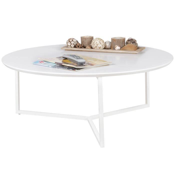 FineBuy Table Basse Bois Blanc ø 80cm Table d'appoint Table de salon Rond Design