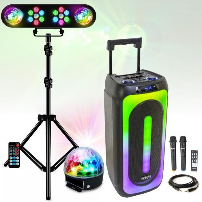 Pack Lumière avec portique dj + 1 Enceinte Sono 450w TS450 IBIZA SOUND - 1 Câble PC - Bluetooth USB MIC MP3